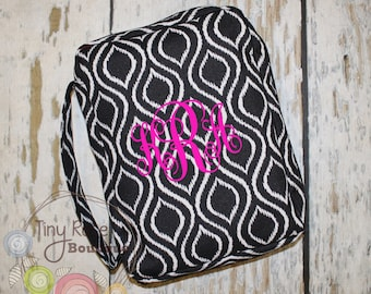 Personalized Bible Case Cover -Monogrammed Black Ikat Bible Travel Case