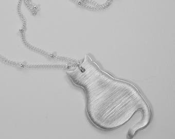 Fine Silver Cat Necklace. Precious Metal Clay. PMC. Cat Pendant. Fine Silver Necklace. Precious Metal Clay Necklace.