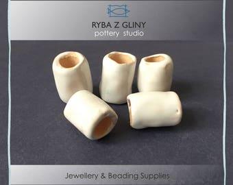 Ceramic White Beads, 15 mm x H 20 mm, Clay Beads, Barrel Beads, Jewelry Beads, White Beads, Pottery Beads, Nautical Beads