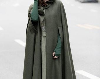 Maxi Hooded Wool Coat Cloak, 100% Cashmere, Maxi Cashmere Cape, Hooded Cape, Wool Hooded Cloak In Green,Black, Grey,Long Wool Jacket, Winter