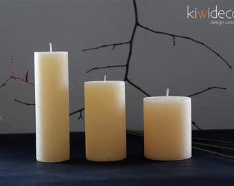 "Handmade Rustic Pillar Candles Set Beige 65 x 85 mm (2.55 x 3.14"") 55 x 105 mm (2.16 x 4.13"")  45 x 150 mm (1.77 x 5.9"")"