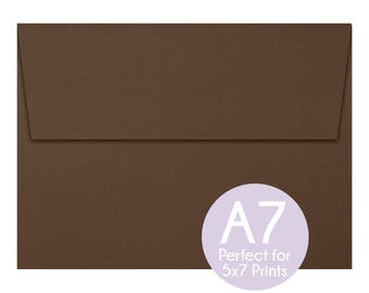 Chocolate Brown - A7 5x7 Envelopes - 5x7 Invitation Envelopes, Perfect for 5x7 Photo Cards and Invitations, A7 Wedding Envelopes - Set of 10