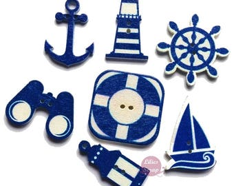 7 marine theme (binoculars, anchor, Lighthouse, wheel, buoy...) - 2 holes wooden buttons