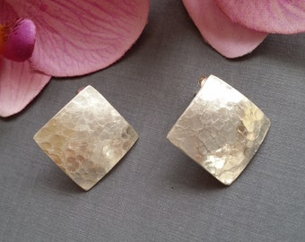 Large hammered earrings 925 Silver