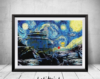 Star Wars Starry Night Print, Tatooine Poster, Star Wars Art, Star Wars Wall Art, Tatooine Art, Wall Decor, Star Wars Print, Tatooine Print