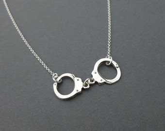 sterling silver handcuff necklace | charm necklace | gift for her