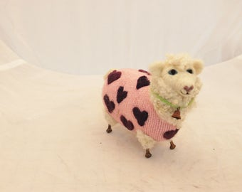 Sheep, Lambies  in  Pink With Purple Heart Jammies   Needle Felted Sheep #2448