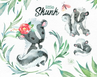 Little Skunk. Watercolor animals clip art, wild, native, forest, wreath, florals, North America, greeting, babyshower, woodland
