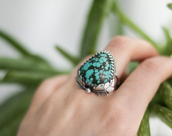 Turquoise Ring | Bohemian Jewelry | Boho Ring | Boho Style | Statement Ring | Turquoise Statement Ring | Size 7 | Size N | Size 54