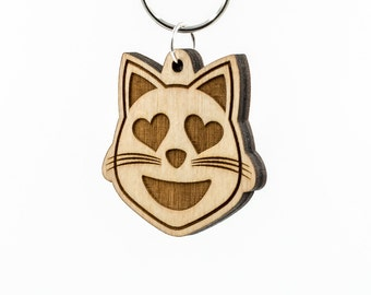 Heart Eyes Cat Emoji Keychain - Smiling Cat Face with Heart Shaped Eyes Emoji Carved Wood Key Ring - Loving Cat Emoji Wooden Engraved Charm