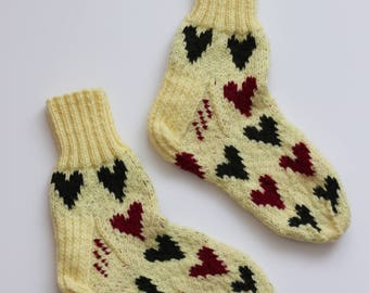 Hand-knitted Wool Socks LOVE CANDY By VidaFelt - Size 38-39 - Free Shipping!