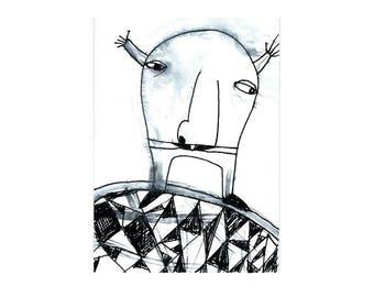 Original drawing, Original atc, Artist trading card, Small format art, Miniature art, Illustration ink Weird art, Original art, aceo card