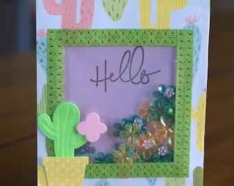 Greeting Shaker Card (Cactus Theme)