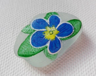 Blue primrose - Acrylic miniature painting on English sea glass