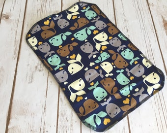 Burp cloth happy whales, baby shower gift, BAMBOO terry cloth burp cloth, baby burp cloth, baby boy gift, drool baby burp cloth
