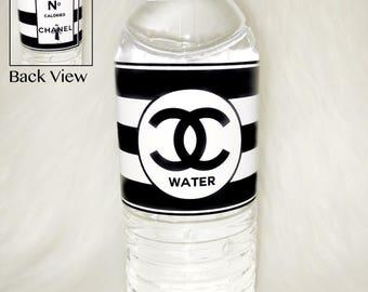 Black and White Designer Inspired Water Bottle Labels