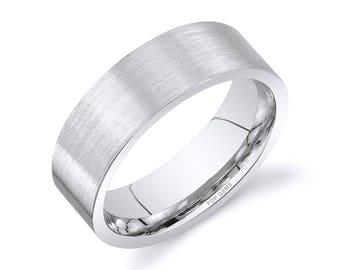 14k White Gold Band (7mm) / PLAIN / Matte Brushed Flat + Comfort Fit / Men's Women's Wedding Ring