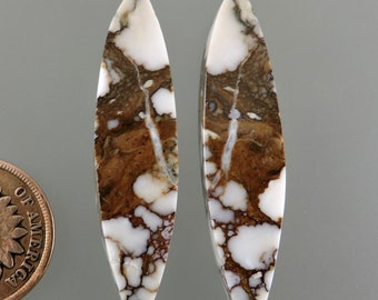 Wild Horse Cabochons, Wild Horse Cabs, White and Brown Earring Cabs, Designer Wild Horse, Gift Cabs, C3112, Hand Cut by 49erMinerals