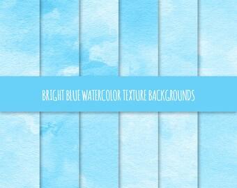 Blue Watercolor Texture Digital Paper; Blue Painted Watercolor Backgrounds ~ Watercolor Scrapbook Paper ~ Watercolor Card Background