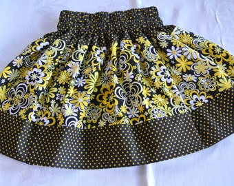 Girls Skirt One Of A Kind, Size 3, Summer, Yellow Black Color, Birthday Party, School, Two Different Kind of Fabric, Elastic Waist.