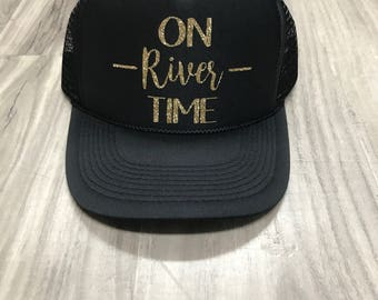 On River Time Trucker Hat Women's Trucker Hat Women's Hats River Trucker Hats Vacation Hat Summer Trucker Hats River Lake Vacation
