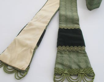 Green Silk Warham Guild Style Priest Clergy Pastor Stole with Velvet Orphey