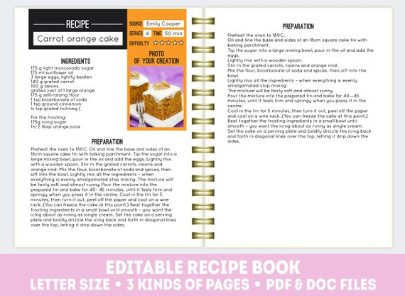 Recipe Book Template Pdf Doc Editable Recipe Pages