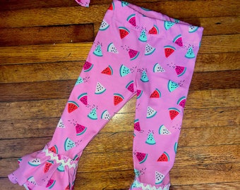 Watermelon Ruffle Pants With Matching Bow