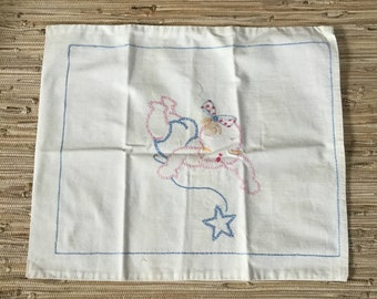 Darling Embroidered Baby Pillow Case Vintage Little Girl Infant Pillow or Wall Decoration 13 x 15 1/2""