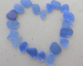 Genuine Blue Sea Glass, Jewelry Supply, Vintage Seaglass, Genuine Beach Glass, Cornflowe Blue Seaglass, Jewelry Making Supply