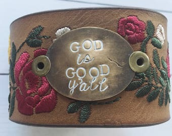 God is good y'all floral faux leather cuff bracelet