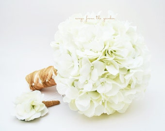 Silk Flower Wedding Bouquet White Silk Hydrangea Groom's Boutonniere - Silk Flower Bridal Bouquet White Hydrangea Jute Tan Ivory Ribbon