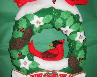 Bucilla felt kit Christmas Wreath Completed Done red bird wreath