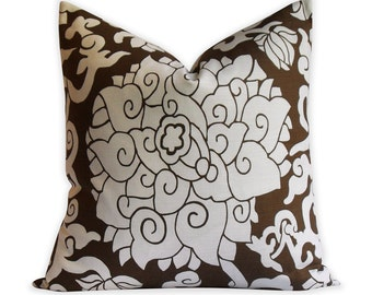 """Thomas Paul Chocolate """"Blossom"""" Pillow Cover - 18""""x18"""" -  Invisible Zipper - Same Fabric BOTH Sides"""