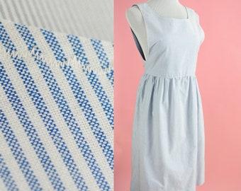 Vintage Blue Striped Dress // Midi, Tank Dress, White, Blue Pencil Stripe Pattern, Women Size Medium