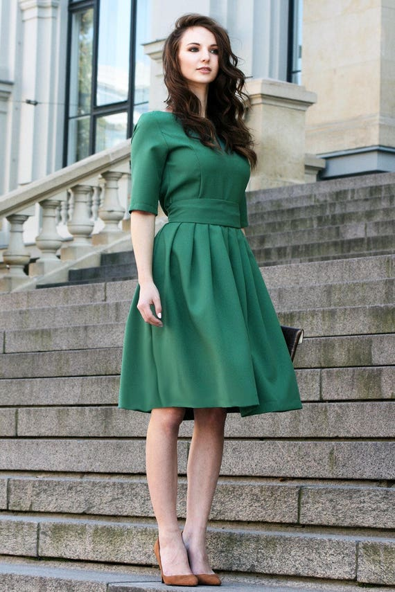 Fall Dress Plus Size Dress Oversized Dress Dark Green