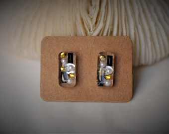 RESIN Earring, RECTANGLE Earring, Gold Dots, Pearl and Black Bars Earring, Stainless Steel Stud Earring ~ 6 mm