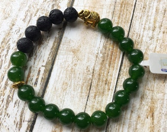 20% OFF Green Agate and Elephant Essential Oil Diffuser Bracelet