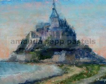 Mont Saint-Michel print of original painting-pastel landscape-french landscape art-normandy coast painting-amanda sapp-framed landscape