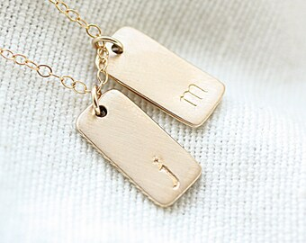 Gold Initial Bar Necklace, Personalized Hand Stamped Initial Tags, Brushed Matte, Modern Mommy Necklace, Gold Fill and Sterling Silver
