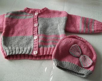 vest and hat-handmade knit baby 0/3 months-