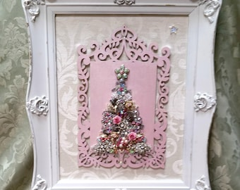 Jewelry Christmas Tree, Framed Jewelry Christmas Tree, Jeweled Tree, Vintage Jeweled Christmas Tree, Framed Jewel Tree, Christmas Decor