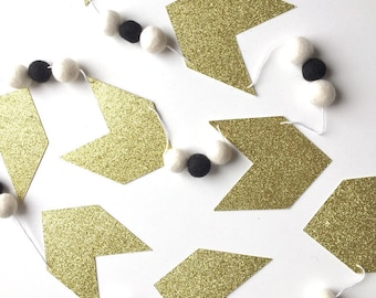 Arrow Glitter + Felt Ball Garland | Room Decor |  Nursery Decor | Chevron | Birthday Party Banner | Party Decor | Wild One | Arrow Banner