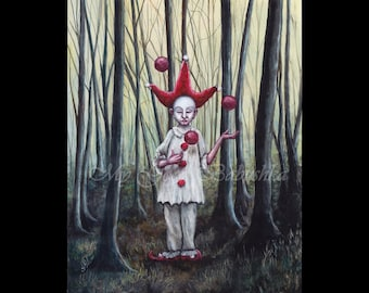 Red Cap, Art Print, Pierrot, Juggler in the Forest, Far Darrig, Irish Folk Lore, The Red Man, Nightmare, Fairy Tale, Macabre Art, Folk Tale