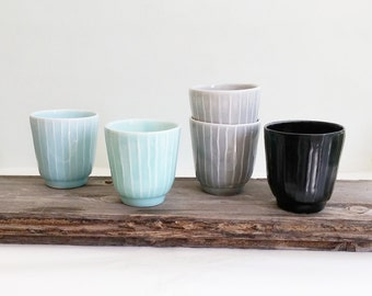 Ceramic Cups Set 4, Modern Ceramic Glass, Ceramic Pottery Mugs, Stoneware Tumbler Set, Handmade Coffee Mugs, Wedding Gift, Housewarming Gift