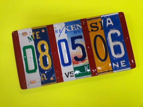 License plate sign Pick the states, 10 year anniversary gift, traditional 10th year anniversary gift of Aluminum/Tin