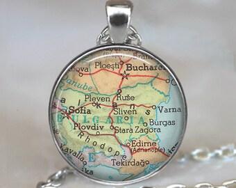 Bulgaria map pendant, Bulgaria map necklace Bulgaria pendant Bulgaria necklace map jewelry jewellery key chain keychain key ring key fob