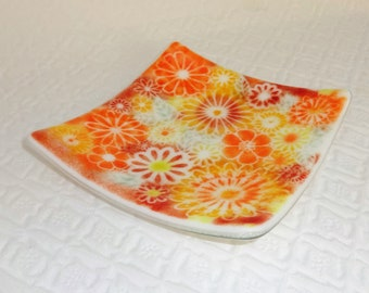 Spring Fused Glass Flower Plate, Fused Glass Trinket Tray, Fused Glass Dish, Glass Candy Dish, Pillar Candle Holder, Trinket Tray