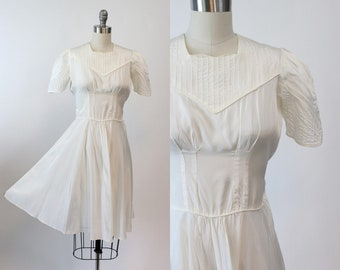30s Dress Small / 1930s Vintage Rayon Dress / Pintucked and Perfect Dress