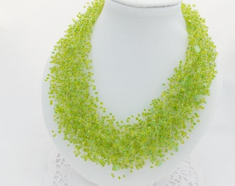 Lime green necklaces green wedding spring Original Necklace big bead necklace neck jewelry bohemian necklace for woman Statement necklace